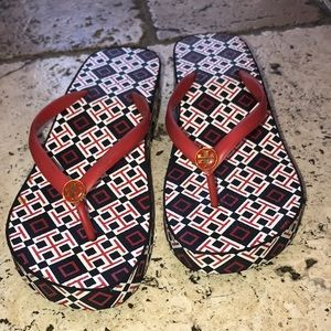 Red/White/Black Tory Burch Wedge Sandal